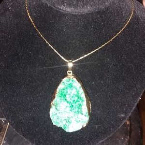 Green Crystal Geode Necklace